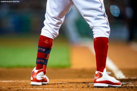 BOSTON, MA - APRIL 11: Mookie Betts #50 of the Boston Red Sox wears Jordan 13 cleats as he bats during the first inning of a game against the Toronto Blue Jays on April 11, 2019 at Fenway Park in Boston, Massachusetts. (Photo by Billie Weiss/Boston Red Sox/Getty Images) *** Local Caption *** Mookie Betts