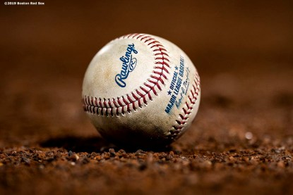 BOSTON, MA - APRIL 12: A baseball is shown during a game between the Boston Red Sox and the Baltimore Orioles on April 12, 2019 at Fenway Park in Boston, Massachusetts. (Photo by Billie Weiss/Boston Red Sox/Getty Images) *** Local Caption ***