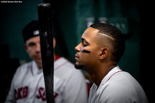 BOSTON, MA - APRIL 25: Xander Bogaerts #2 of the Boston Red Sox reacts before a game against the Detroit Tigers on April 25, 2019 at Fenway Park in Boston, Massachusetts. (Photo by Billie Weiss/Boston Red Sox/Getty Images) *** Local Caption *** Xander Bogaerts