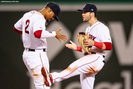 BOSTON, MA - APRIL 25: Xander Bogaerts #2 and Andrew Benintendi #16 of the Boston Red Sox celebrate a victory against the Detroit Tigers on April 25, 2019 at Fenway Park in Boston, Massachusetts. (Photo by Billie Weiss/Boston Red Sox/Getty Images) *** Local Caption *** Andrew Benintendi; Xander Bogaerts