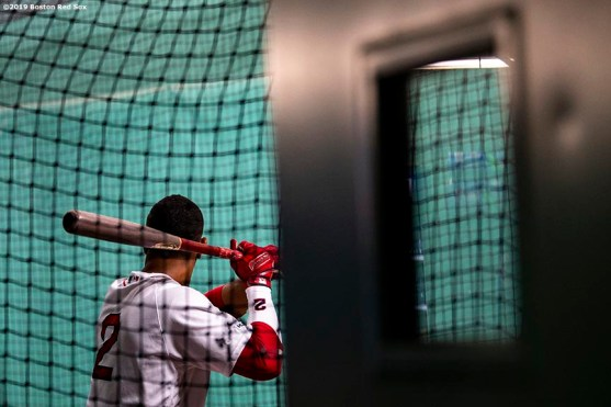 BOSTON, MA - APRIL 29: Xander Bogaerts #2 of the Boston Red Sox takes batting practice before a game against the Oakland Athletics on April 29, 2019 at Fenway Park in Boston, Massachusetts. (Photo by Billie Weiss/Boston Red Sox/Getty Images) *** Local Caption *** Xander Bogaerts