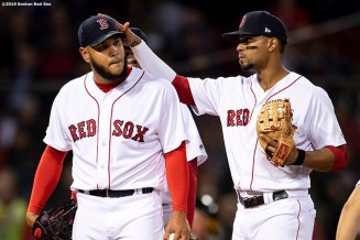 BOSTON, MA - APRIL 29: Xander Bogaerts #2 reacts as Eduardo Rodriguez #57 of the Boston Red Sox exits the game during the fifth game against the Oakland Athletics on April 29, 2019 at Fenway Park in Boston, Massachusetts. (Photo by Billie Weiss/Boston Red Sox/Getty Images) *** Local Caption *** Xander Bogaerts; Eduardo Rodriguez