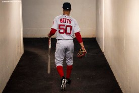BALTIMORE, MD - MAY 8: Mookie Betts #50 of the Boston Red Sox walks through the tunnel before a game against the Baltimore Orioles on May 8, 2019 at Oriole Park at Camden Yards in Baltimore, Maryland. (Photo by Billie Weiss/Boston Red Sox/Getty Images) *** Local Caption *** Mookie Betts
