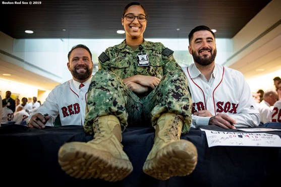 WASHINGTON, DC - MAY 9: Brian Johnson #61 and Brandon Workman #44 of the Boston Red Sox pose with a guest during a visit to Walter Reed National Military Medical Center on May 9, 2019 in Washington, DC. (Photo by Billie Weiss/Boston Red Sox/Getty Images) *** Local Caption *** Brian Johnson; Brandon Workman