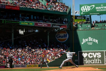 BOSTON, MA - MAY 11: Felix Hernandez #34 of the Seattle Mariners delivers as he records his 2,500th career strike out during the second inning of a game against the Boston Red Sox on May 11, 2019 at Fenway Park in Boston, Massachusetts. (Photo by Billie Weiss/Boston Red Sox/Getty Images) *** Local Caption *** Felix Hernandez