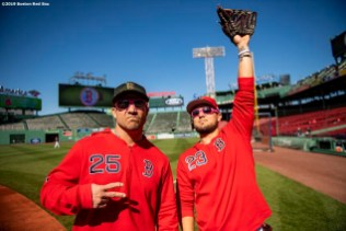 BOSTON, MA - MAY 18: Steve Pearce #25 and Michael Chavis #23 of the Boston Red Sox react before a game against the Houston Astros on May 18, 2019 at Fenway Park in Boston, Massachusetts. (Photo by Billie Weiss/Boston Red Sox/Getty Images) *** Local Caption *** Steve Pearce; Michael Chavis