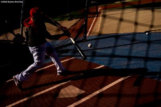 BOSTON, MA - MAY 18: Christian Vazquez #7 of the Boston Red Sox takes batting practice before a game against the Houston Astros on May 18, 2019 at Fenway Park in Boston, Massachusetts. (Photo by Billie Weiss/Boston Red Sox/Getty Images) *** Local Caption *** Christian Vazquez
