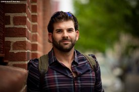 BOSTON, MA - MAY 19: Mitch Moreland #18 of the Boston Red Sox poses for a portrait before boarding the bus as the team travels to Toronto after a game against the Houston Astros on May 19, 2019 at Fenway Park in Boston, Massachusetts. (Photo by Billie Weiss/Boston Red Sox/Getty Images) *** Local Caption *** Mitch Moreland