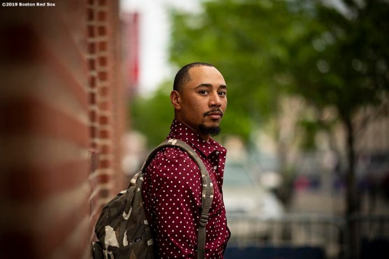 BOSTON, MA - MAY 19: Mookie Betts #50 of the Boston Red Sox poses for a portrait before boarding the bus as the team travels to Toronto after a game against the Houston Astros on May 19, 2019 at Fenway Park in Boston, Massachusetts. (Photo by Billie Weiss/Boston Red Sox/Getty Images) *** Local Caption *** Mookie Betts