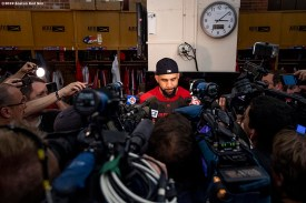 BOSTON, MA - JUNE 10: David Price #10 of the Boston Red Sox speaks to the media regarding former designated hitter David Ortiz following an incident in the Dominican Republic before a game against the Texas Rangers on June 10, 2019 at Fenway Park in Boston, Massachusetts. (Photo by Billie Weiss/Boston Red Sox/Getty Images) *** Local Caption *** David Price; David Ortiz