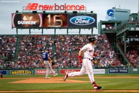 BOSTON, MA - JUNE 10: Andrew Benintendi #16 of the Boston Red Sox rounds the bases after hitting a two run home run during the first inning of a game against the Texas Rangers on June 10, 2019 at Fenway Park in Boston, Massachusetts. (Photo by Billie Weiss/Boston Red Sox/Getty Images) *** Local Caption *** Andrew Benintendi