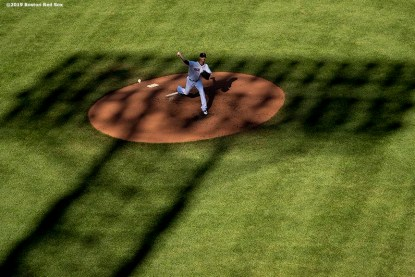BOSTON, MA - JUNE 12: Rick Porcello #22 of the Boston Red Sox catches during the fifth inning of a game against the Texas Rangers on June 12, 2019 at Fenway Park in Boston, Massachusetts. (Photo by Billie Weiss/Boston Red Sox/Getty Images) *** Local Caption *** Rick Porcello