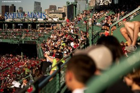 BOSTON, MA - JUNE 12: The Samuel Adams deck is shown as fans look on during a game between the Boston Red Sox and the Texas Rangers on June 12, 2019 at Fenway Park in Boston, Massachusetts. (Photo by Billie Weiss/Boston Red Sox/Getty Images) *** Local Caption ***