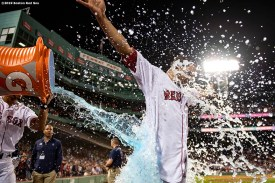 BOSTON, MA - JUNE 24: Marco Hernandez #40 of the Boston Red Sox is doused with Gatorade by Xander Bogaerts #2 after hitting the game winning walk-off infield single during the ninth inning of a game against the Chicago White Sox on June 24, 2019 at Fenway Park in Boston, Massachusetts. (Photo by Billie Weiss/Boston Red Sox/Getty Images) *** Local Caption *** Marco Hernandez; Xander Bogaerts