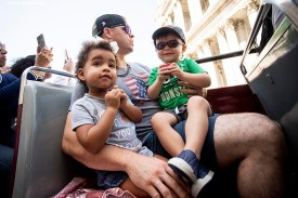 LONDON, ENGLAND - JUNE 27: Brock Holt #12 of the Boston Red Sox looks on with his son Griff Holt and Emerson Bradley, daughter of Jackie Bradley Jr. #19 of the Boston Red Sox, during a bus tour ahead of the 2019 Major League Baseball London Series on June 27, 2019 in London, England. (Photo by Billie Weiss/Boston Red Sox/Getty Images) *** Local Caption *** Brock Holt; Emerson Bradley; Griff Holt