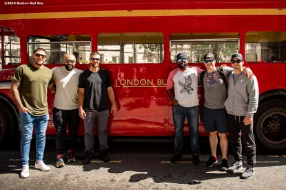 LONDON, ENGLAND - JUNE 27: Hector Velazquez #76, Sandy Leon #3, Marcus Walden #64, Jackie Bradley Jr. #19, Brock Holt #12, and Andrew Benintendi #16 of the Boston Red Sox pose for a photograph during a bus tour ahead of the 2019 Major League Baseball London Series on June 27, 2019 in London, England. (Photo by Billie Weiss/Boston Red Sox/Getty Images) *** Local Caption *** Hector Velazquez; Sandy Leon Marcus Walden; Jackie Bradley Jr.; Brock Holt; Andrew Benintendi