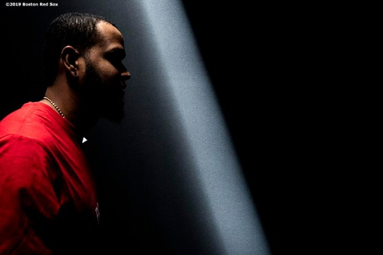 LONDON, ENGLAND - JUNE 28 : Eduardo Rodriguez #57 of the Boston Red Sox walks through the tunnel during a team workout ahead of the 2019 Major League Baseball London Series on June 28, 2019 at West Ham London Stadium in London, England. (Photo by Billie Weiss/Boston Red Sox/Getty Images) *** Local Caption *** Eduardo Rodriguez
