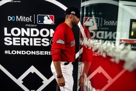LONDON, ENGLAND - JUNE 30: J.D. Martinez #28 of the Boston Red Sox walks through the tunnel before game two of the 2019 Major League Baseball London Series against the New York Yankees on June 30, 2019 at West Ham London Stadium in London, England. (Photo by Billie Weiss/Boston Red Sox/Getty Images) *** Local Caption *** J.D. Martinez