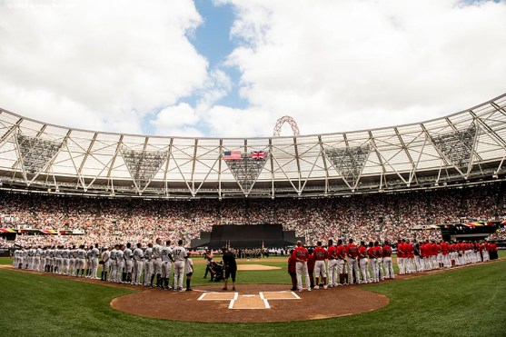 LONDON, ENGLAND - JUNE 30: Starting lineups of the Boston Red Sox and the New York Yankees are introduced before game two of the 2019 Major League Baseball London Series on June 30, 2019 at West Ham London Stadium in London, England. (Photo by Billie Weiss/Boston Red Sox/Getty Images) *** Local Caption ***