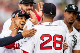 CLEVELAND, OH - JULY 09: J.D. Martinez #28 of the Boston Red Sox high fives Mookie Betts #50 as he is introduced before the 2019 Major League Baseball All-Star Game at Progressive Field on July 9, 2019 in Cleveland, Ohio. (Photo by Billie Weiss/Boston Red Sox/Getty Images) *** Local Caption *** J.D. Martinez; Mookie Betts