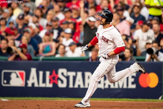 CLEVELAND, OH - JULY 09: J.D. Martinez #28 of the Boston Red Sox runsduring the second inning of the 2019 Major League Baseball All-Star Game at Progressive Field on July 9, 2019 in Cleveland, Ohio. (Photo by Billie Weiss/Boston Red Sox/Getty Images) *** Local Caption *** J.D. Martinez