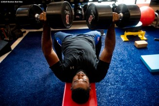BOSTON, MA - JULY 16: Jackie Bradley Jr. #19 of the Boston Red Sox lifts weights before a game against the Toronto Blue Jays on July 16, 2019 at Fenway Park in Boston, Massachusetts. (Photo by Billie Weiss/Boston Red Sox/Getty Images) *** Local Caption *** Jackie Bradley Jr.