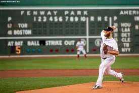 BOSTON, MA - JULY 16: Andrew Cashner #48 of the Boston Red Sox delivers during the first inning of his Boston Red Sox debut game against the Toronto Blue Jays on July 16, 2019 at Fenway Park in Boston, Massachusetts. (Photo by Billie Weiss/Boston Red Sox/Getty Images) *** Local Caption *** Andrew Cashner
