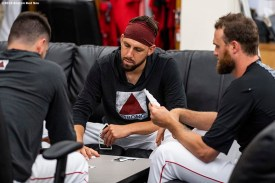 BOSTON, MA - JULY 17: Matt Barnes #32 of the Boston Red Sox plays cards with teammates before a game against the Toronto Blue Jays on July 17, 2019 at Fenway Park in Boston, Massachusetts. (Photo by Billie Weiss/Boston Red Sox/Getty Images) *** Local Caption *** Matt Barnes