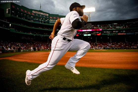 BOSTON, MA - JULY 17: Jackie Bradley Jr. #19 of the Boston Red Sox warms up before a game against the Toronto Blue Jays on July 17, 2019 at Fenway Park in Boston, Massachusetts. (Photo by Billie Weiss/Boston Red Sox/Getty Images) *** Local Caption *** Jackie Bradley Jr.