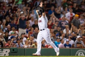 BOSTON, MA - JULY 17: Christian Vazquez #7 of the Boston Red Sox reacts as he scores during the fourth inning of a game against the Toronto Blue Jays on July 17, 2019 at Fenway Park in Boston, Massachusetts. (Photo by Billie Weiss/Boston Red Sox/Getty Images) *** Local Caption *** Christian Vazquez