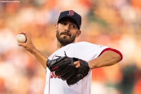 BOSTON, MA - JULY 25: Rick Porcello #22 of the Boston Red Sox delivers during the first inning of a game against the New York Yankees on July 25, 2019 at Fenway Park in Boston, Massachusetts. (Photo by Billie Weiss/Boston Red Sox/Getty Images) *** Local Caption *** Rick Porcello