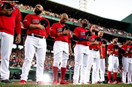 BOSTON, MA - JULY 26: Members of the Boston Red Sox line up before a game against the New York Yankees on July 26, 2019 at Fenway Park in Boston, Massachusetts. (Photo by Billie Weiss/Boston Red Sox/Getty Images) *** Local Caption ***