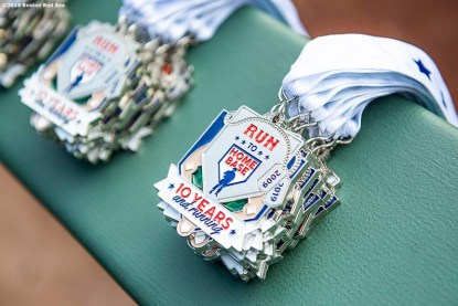July 27, 2019 , Boston, MA: Medals are displayed during the 2019 Run to Home Base presented by New Balance at Fenway Park in Boston, Massachusetts Saturday, July 27, 2019. (Photo by Billie Weiss/Home Base)