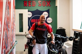 BOSTON, MA - JULY 28: Mookie Betts #50 of the Boston Red Sox exits the clubhouse before a game against the New York Yankees on July 28, 2019 at Fenway Park in Boston, Massachusetts. (Photo by Billie Weiss/Boston Red Sox/Getty Images) *** Local Caption *** Mookie Betts