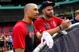 BOSTON, MA - JULY 28: Mookie Betts #50 talks with J.D. Martinez #28 of the Boston Red Sox before a game against the New York Yankees on July 28, 2019 at Fenway Park in Boston, Massachusetts. (Photo by Billie Weiss/Boston Red Sox/Getty Images) *** Local Caption *** Mookie Betts; J.D. Martinez