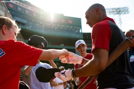 BOSTON, MA - JULY 28: Mookie Betts #50 of the Boston Red Sox signs autographs before a game against the New York Yankees on July 28, 2019 at Fenway Park in Boston, Massachusetts. (Photo by Billie Weiss/Boston Red Sox/Getty Images) *** Local Caption *** Mookie Betts