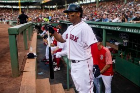 BOSTON, MA - JULY 28: Rafael Devers #11 of the Boston Red Sox reacts as he exits the dugout during the first inning of a game against the New York Yankees on July 28, 2019 at Fenway Park in Boston, Massachusetts. (Photo by Billie Weiss/Boston Red Sox/Getty Images) *** Local Caption *** Rafael Devers