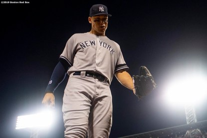 BOSTON, MA - JULY 28: Aaron Judge #99 of the New York Yankees walks off the field during the fifth inning of a game against the Boston Red Sox on July 28, 2019 at Fenway Park in Boston, Massachusetts. (Photo by Billie Weiss/Boston Red Sox/Getty Images) *** Local Caption *** Aaron Judge