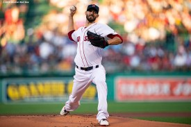 BOSTON, MA - AUGUST 5: Rick Porcello #22 of the Boston Red Sox during the inning of a game against the Kansas City Royals on August 5, 2019 at Fenway Park in Boston, Massachusetts. (Photo by Billie Weiss/Boston Red Sox/Getty Images) *** Local Caption *** Rick Porcello