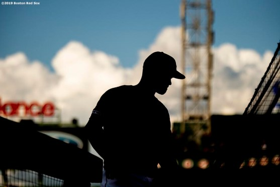 BOSTON, MA - AUGUST 9: Brock Holt #12 of the Boston Red Sox looks on before a game against the Los Angeles Angels of Anaheim on August 9, 2019 at Fenway Park in Boston, Massachusetts. (Photo by Billie Weiss/Boston Red Sox/Getty Images) *** Local Caption *** Brock Holt