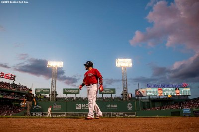 BOSTON, MA - AUGUST 9: Christian Vazquez #7 of the Boston Red Sox looks on during the second inning of a game against the Los Angeles Angels of Anaheim on August 9, 2019 at Fenway Park in Boston, Massachusetts. (Photo by Billie Weiss/Boston Red Sox/Getty Images) *** Local Caption *** Christian Vazquez