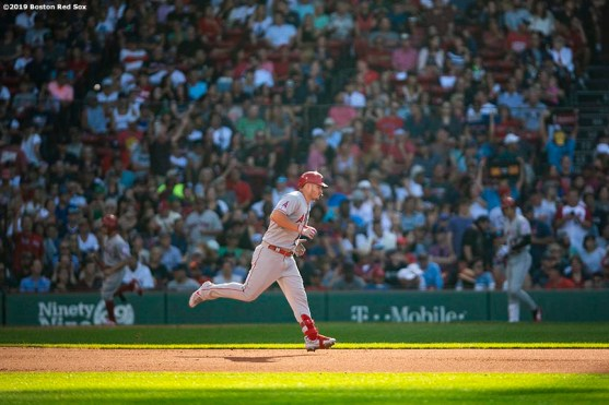 BOSTON, MA - AUGUST 10: Mike Trout #27 of the Los Angeles Angels of Anaheim rounds the bases after hitting a two run home run during the sixth inning of a game against the Boston Red Sox on August 10, 2019 at Fenway Park in Boston, Massachusetts. (Photo by Billie Weiss/Boston Red Sox/Getty Images) *** Local Caption *** Mike Trout