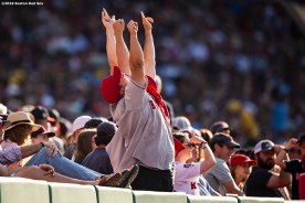 BOSTON, MA - AUGUST 10: Fans cheer during a game between the Boston Red Sox and the Los Angeles Angels of Anaheim on August 10, 2019 at Fenway Park in Boston, Massachusetts. (Photo by Billie Weiss/Boston Red Sox/Getty Images) *** Local Caption ***