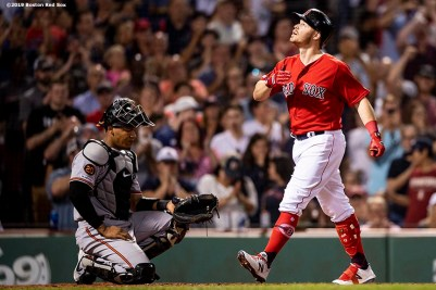 BOSTON, MA - AUGUST 17: Brock Holt #12 of the Boston Red Sox reacts after hitting a go ahead solo home run during the fifth inning of a game against the Baltimore Orioles on August 17, 2019 at Fenway Park in Boston, Massachusetts. (Photo by Billie Weiss/Boston Red Sox/Getty Images) *** Local Caption *** Brock Holt