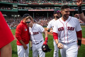 BOSTON, MA - AUGUST 22: Brock Holt #12 of the Boston Red Sox hugs manager Alex Cora after hitting a game winning walk-off RBI single during the tenth inning of a game against the Kansas City Royals on August 22, 2019 at Fenway Park in Boston, Massachusetts. The game is the completion of the game that was suspended due to weather on August 7 in the top of the 10th inning with a tied score of 4-4. (Photo by Billie Weiss/Boston Red Sox/Getty Images) *** Local Caption *** Brock Holt; Alex Cora