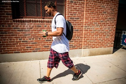 BOSTON, MA - AUGUST 22: Xander Bogaerts #2 of the Boston Red Sox exits the ballpark after a game against the Kansas City Royals on August 22, 2019 at Fenway Park in Boston, Massachusetts. The game is the completion of the game that was suspended due to weather on August 7 in the top of the 10th inning with a tied score of 4-4. (Photo by Billie Weiss/Boston Red Sox/Getty Images) *** Local Caption *** Xander Bogaerts