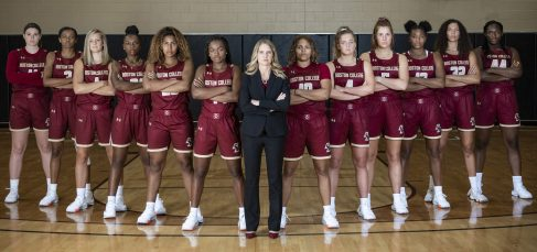 """""""Members of the 2019 Boston College Women's Basketball team and staff pose for a team photograph at Boston College in Chestnut Hill, Massachusetts."""""""