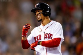 BOSTON, MA - SEPTEMBER 4: Mookie Betts #50 of the Boston Red Sox reacts after hitting a three run home run during the second inning of a game against the Minnesota Twins on September 4, 2019 at Fenway Park in Boston, Massachusetts. It was his second home run of the game. (Photo by Billie Weiss/Boston Red Sox/Getty Images) *** Local Caption *** Mookie Betts