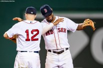 BOSTON, MA - SEPTEMBER 4: Brock Holt #12 and Xander Bogaerts #2 of the Boston Red Sox celebrate a victory against the Minnesota Twins on September 4, 2019 at Fenway Park in Boston, Massachusetts. (Photo by Billie Weiss/Boston Red Sox/Getty Images) *** Local Caption *** Brock Holt; Xander Bogaerts
