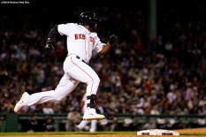 BOSTON, MA - SEPTEMBER 8: Jackie Bradley Jr. #19 of the Boston Red Sox rounds first base after hitting a two run home run during the third inning of a game against the New York Yankees on September 8, 2019 at Fenway Park in Boston, Massachusetts. (Photo by Billie Weiss/Boston Red Sox/Getty Images) *** Local Caption *** Jackie Bradley Jr.